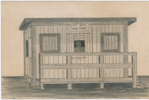 Drawing of the script books building at Tanforan Assembly Center (ddr-densho-392-20)