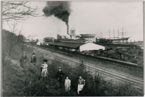 Men and women in front of sawmill (ddr-densho-353-22)