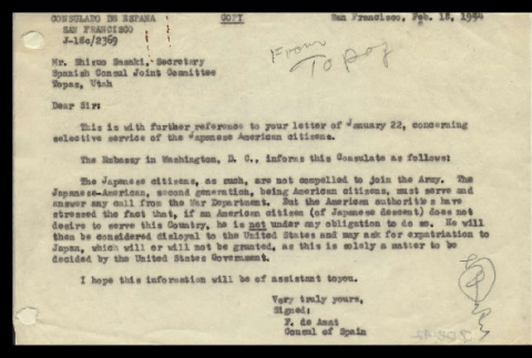 Letter from F. de Amat, Consul of Spain, to Mr. Shizuo Sasaki, Secretary, Spanish Consul Joint Committee, Topaz, Utah, February 18, 1944 (ddr-csujad-55-886)