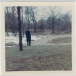 Man reviewing an area to be redesigned at the Brooklyn Botanic Garden (ddr-densho-377-22)