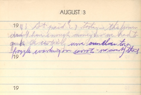 Diary entry, August 3, 1943 (ddr-densho-72-82)