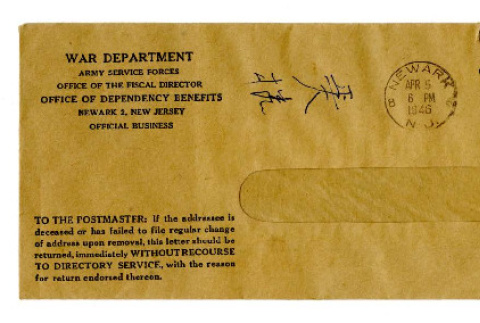 Envelope from War Department Army Service Forces Office of the Fiscal Director Office of Dependency Benefits [to Seiichi Okine], April 5, 1946 (ddr-csujad-5-194)