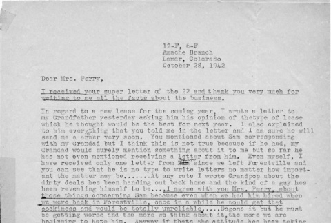 Letter from Kazuo Ito to Lea Perry, October 28, 1942 (ddr-csujad-56-21)