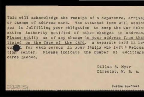 Notice from War Relocation Authority to Shoji Nagumo, 1944 (ddr-csujad-55-902)