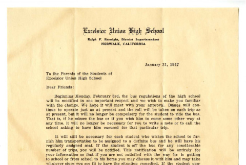 Letter from Ralph F. Burnight, District Superintendent, Excelsior Union High School to the parents of the students of Excelsior Union High School, January 31, 1947 (ddr-csujad-5-200)