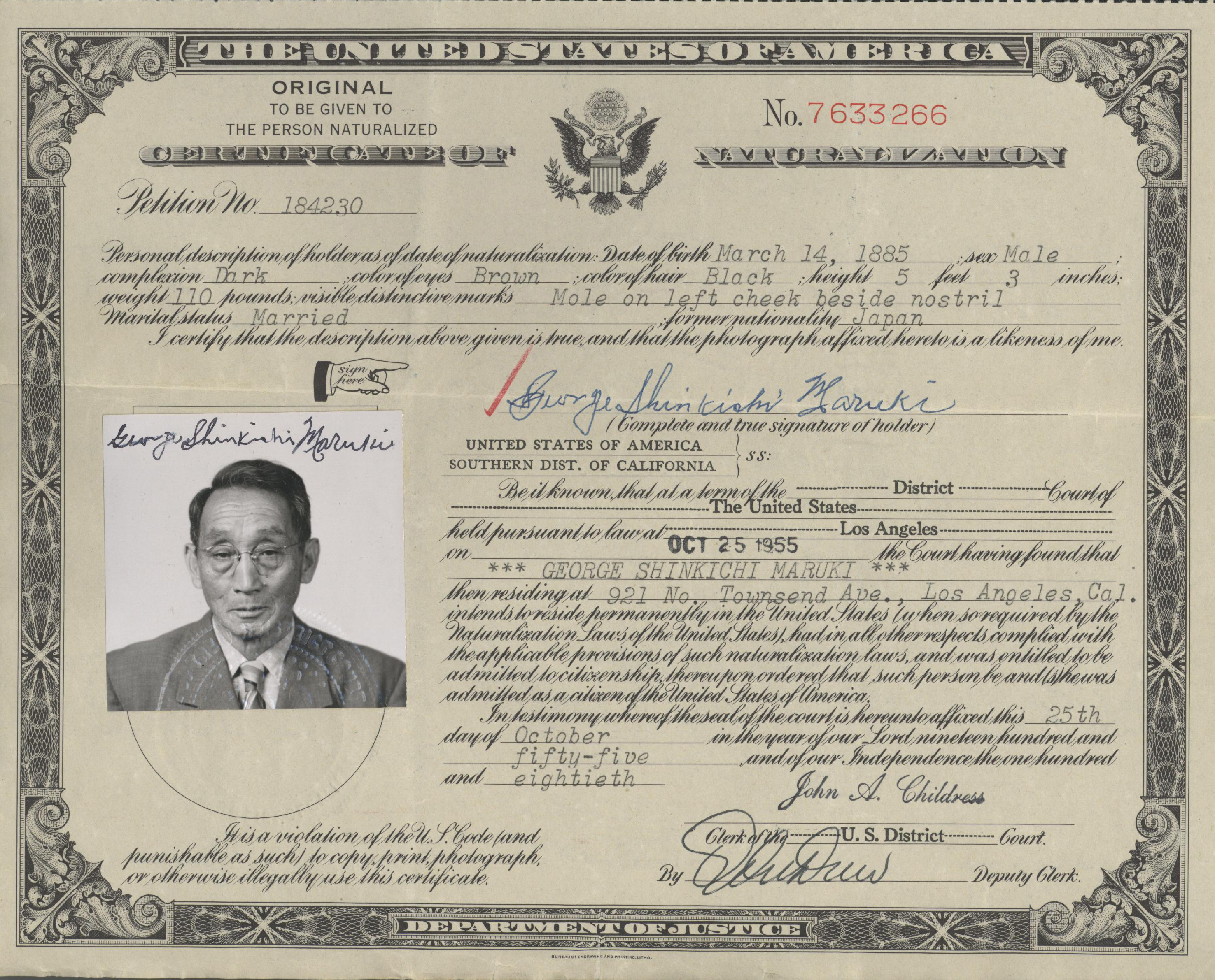 Ddr manz 10 160 naturalization certificate for shinkichi maruki naturalization certificate for shinkichi maruki download large 8034 kb 1betcityfo Choice Image